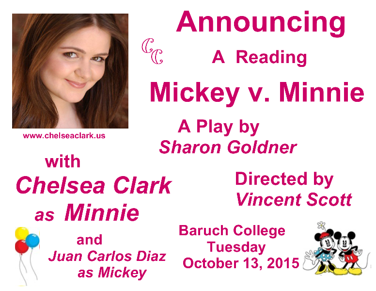 Chelsea Clark plays Minnie Mouse in Sharon Goldner's short play, MICKEY V MINNIE. Directed by Vinent Scott, with Juan Carlos Diaz.as Mickey.