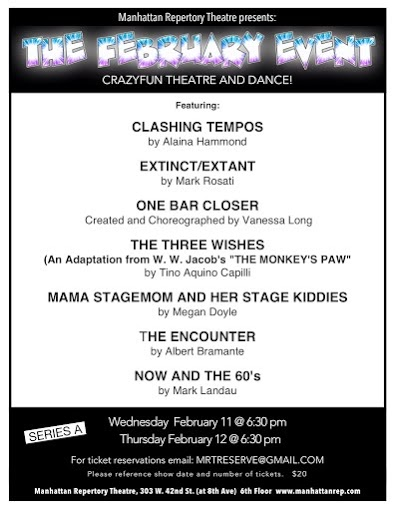 Manhattan Repertory Theatre's February Event, with Chelsea Clark in Mark Rosati's EXTINCT/EXTANT, directed by Jake King