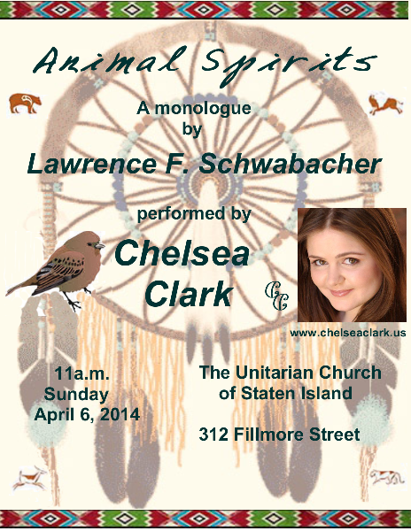 Lawrence F. Schwabacher's monologue, ANIMAL SPIRITS, performed by Chelsea Clark
