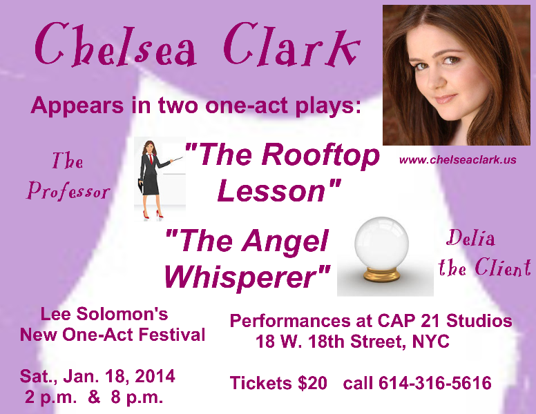 Chelsea Clark in 2 plays for the New One Act Festival