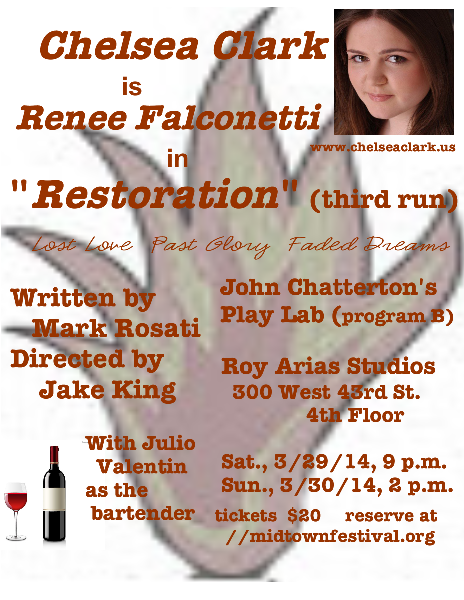 Promo postcard for RESTORATION, Mark Rosati's play, 3rd NYC run with Chelsea Clark and Julio Valentin, directed by Jake King