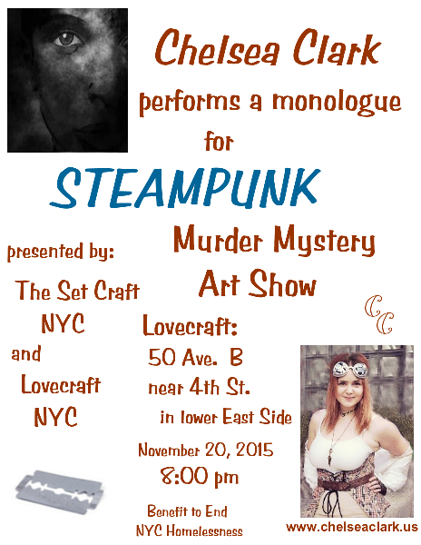 Chelsea Clark performs a steampunk monologue at Lovecraft, November 20, 2015